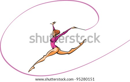 side view of woman doing rhythmic gymnastics