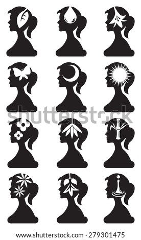 Side view silhouette of woman with conceptual symbols for nature elements and beauty. Black and white vector icon set isolated on white background.