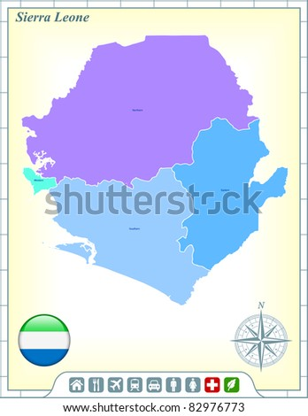Sierra Leone Map with Flag Buttons and Assistance & Activates Icons Original Illustration - stock vector
