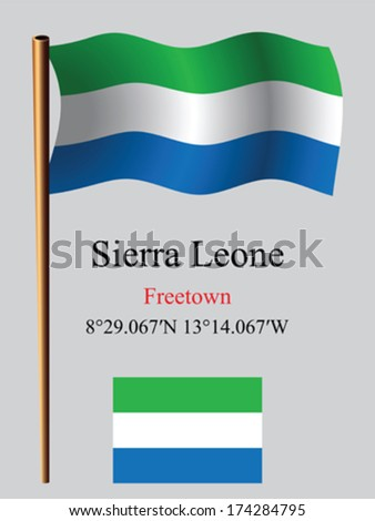 sierra leone wavy flag and coordinates against gray background, vector art illustration, image contains transparency - stock vector