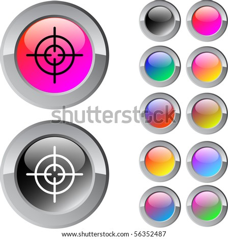 Sight multicolor glossy round web buttons. - stock vector