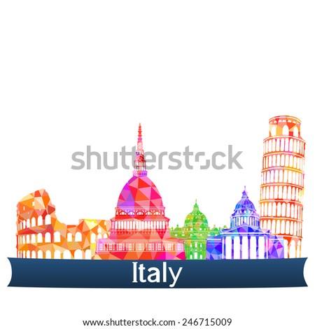 Sights Italy, vector illustration - stock vector