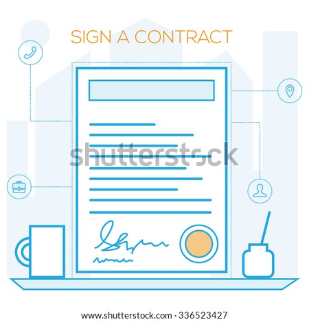 Sign Contract Template Prototype Illustration Stock Vector 336523427 ...