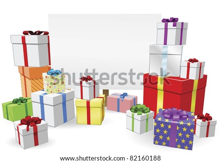 Sign and gifts background with copyspace for your message - stock vector