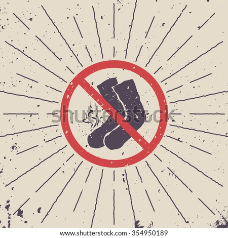 Sign ban. Smelly socks icon with burst. Vector illustration. - stock vector
