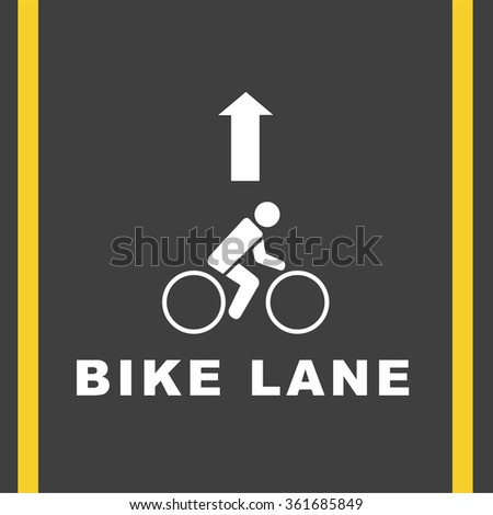Sign  bicycle    on the road, Vector  illustration - stock vector