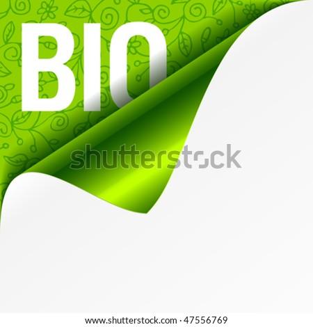 Sign Bio - curled corner. Vector. - stock vector