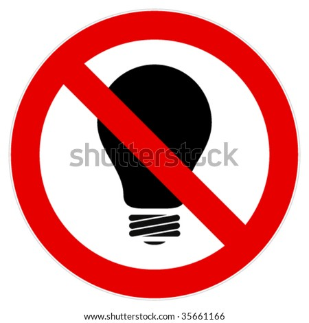 Sign calls to abandon the use of incandescent lamps. - stock vector