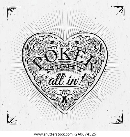 Sign chirwa in vintage style lettering poker night all in! - stock vector