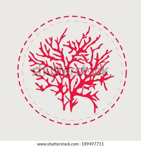 sign, circle, coral - stock vector