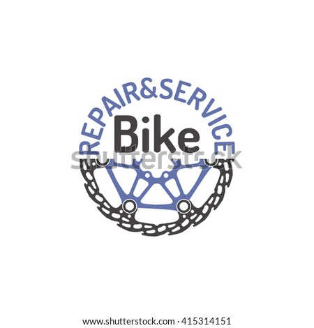 Sign, emblem for repair, service bicycle. - stock vector