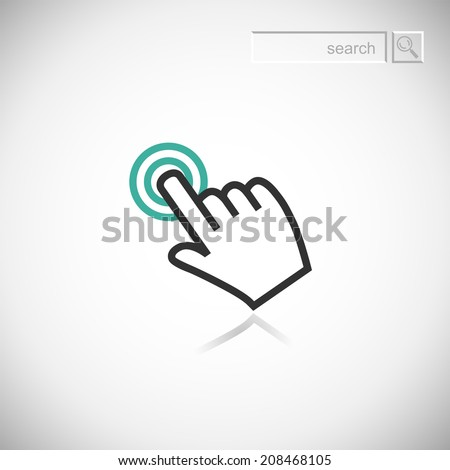 Sign emblem vector illustration. Hand with touching a button or pointing finger. - stock vector