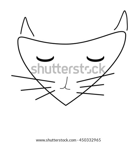 Sign face of cat. Pussycat mask monochrome icon isolated on white background. Abstract plane mark with kitten snout artwork. Flat style symbol of a cat head. Logo for animal. Stock vector illustration - stock vector