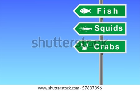 Sign fish squids crabs on sky background. - stock vector