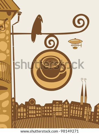 sign for a cafe with bird sitting - stock vector