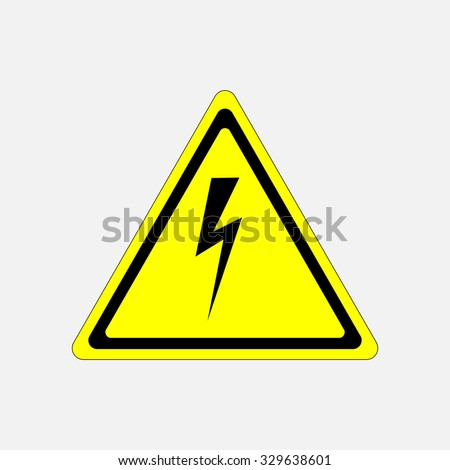 sign high voltage danger, characters in yellow triangle, fully editable vector image - stock vector