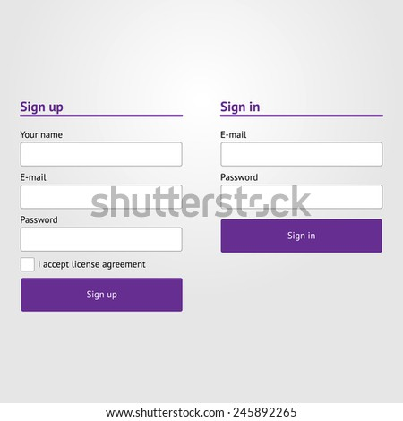 Sign in and sign up forms - stock vector