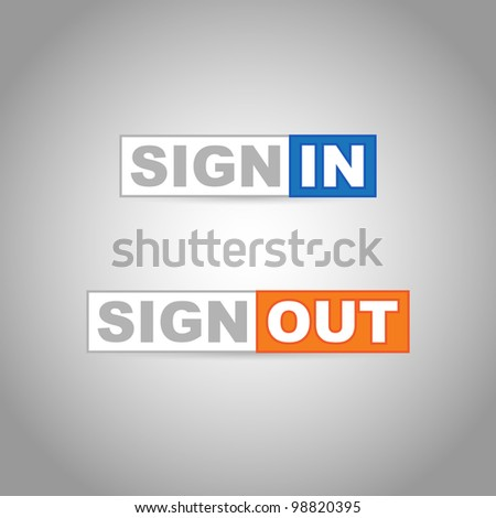 Sign In & Sign Out vector labels - stock vector
