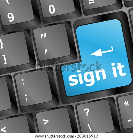 sign it or login concept with key on computer keyboard, vector - stock vector
