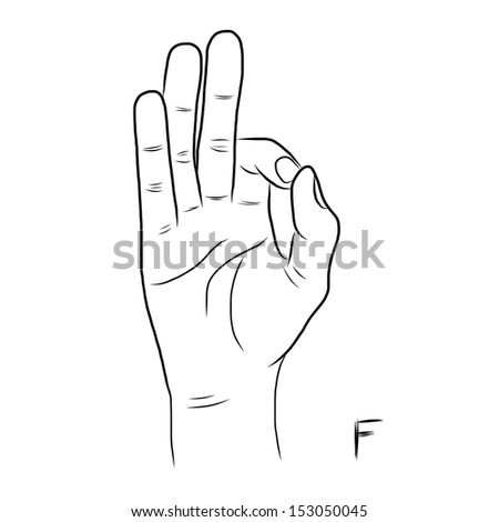 Sign language and the alphabet,The Letter F