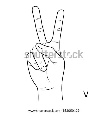 Sign language and the alphabet,The Letter V