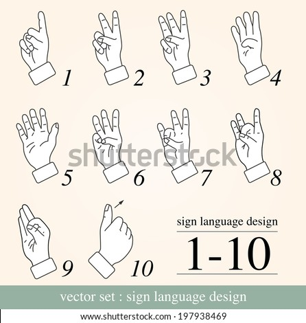 sign language 1 to 10 - stock vector