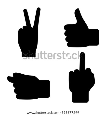 Sign language - vector icon set