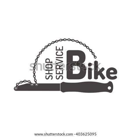 Sign, logo, emblem for  shop,  service bicycle. - stock vector