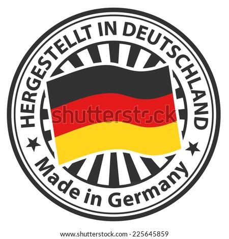 Sign Made in Germany. Hergestellt in Deutschland - stock vector
