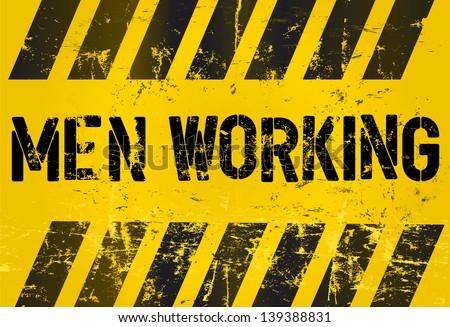 sign: men working, industrial style, vector - stock vector