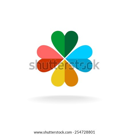 Sign of a four leaves clover from two colors heart shaped figures. Flat paper style logo. - stock vector