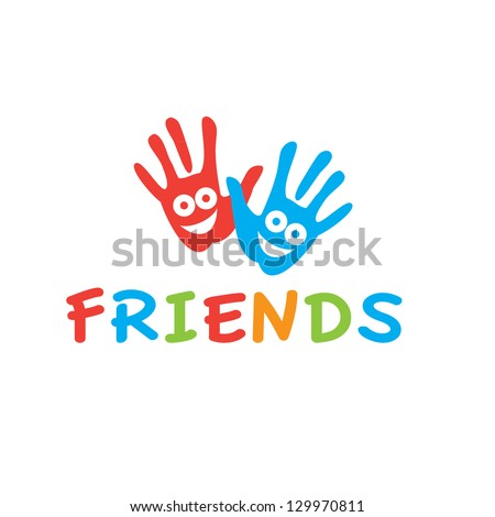 Sign of friends. Vector symbol of friendship - smiling hands. - stock vector