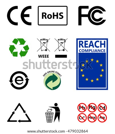 Sign Recycling Environmental Protection Ro Hs Reach Stock Vector