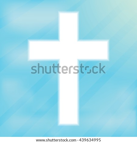 Sign of the cross, Christianity. Glowing white cream on a blue background. Religious symbol of Christianity. Crucifix and belief, catholicism and holy spirituality light shape, vector illustration - stock vector