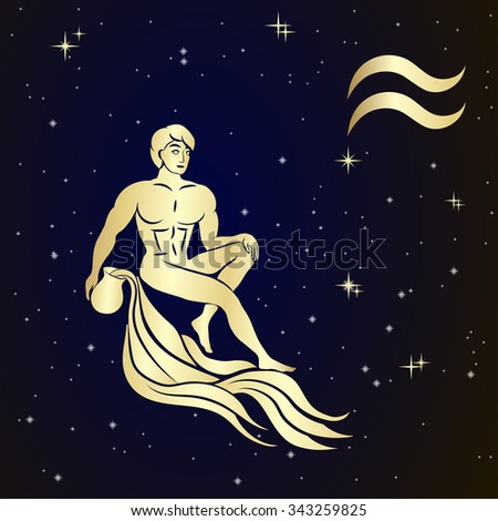 Sign of the zodiac Aquarius is the starry sky, vector Illustration.  Contour icon. - stock vector