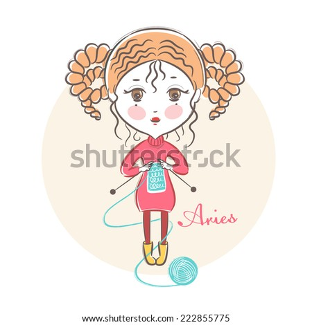 Sign of the Zodiac - Aries. Vector illustration.  Little cute girl with knitting needles. In the style of a sketch. - stock vector