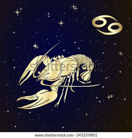 Sign of the zodiac Cancer is the starry sky, vector Illustration.  Contour icon. - stock vector