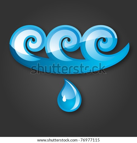 Sign of Water Blue-gray background. 10 EPS - stock vector