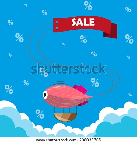 Sign on airship about upcoming promotions. - stock vector