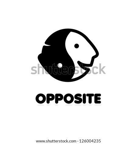 Sign opposite. Stylized faces - the joy and sadness as a symbol of yin-yang - stock vector