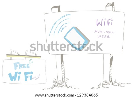 Sign post in two different styles with Wifi available sketch