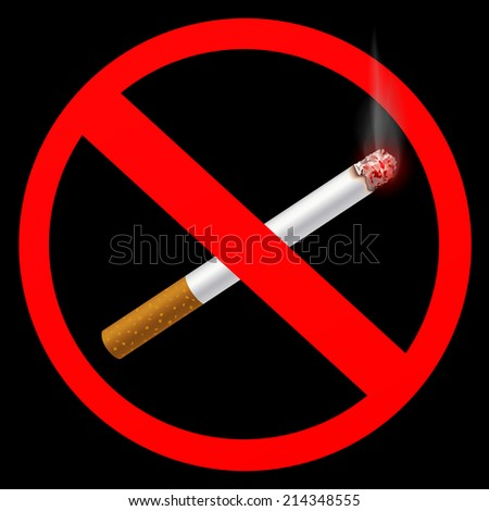 sign prohibiting smoking - stock vector