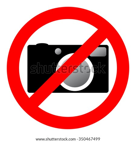 Sign prohibiting use of camera. Vector illustration.