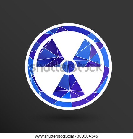 sign radiation vector icon caution nuclear atom power. - stock vector