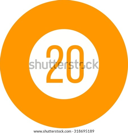 Sign, speed, 20 icon vector image. Can also be used for traffic signs. Suitable for web apps, mobile apps and print media.