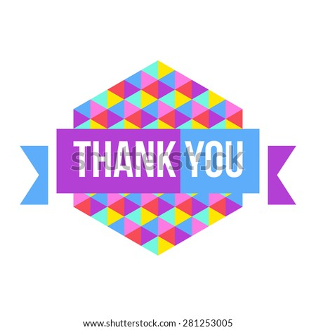 sign Thank You geometric background - stock vector