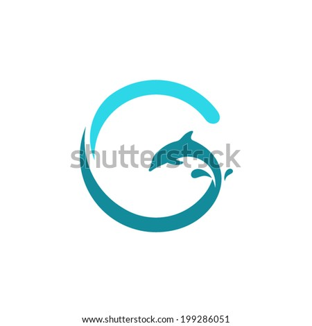Sign the letter G, dolphin Branding Identity Corporate vector logo design template Isolated on a white background - stock vector