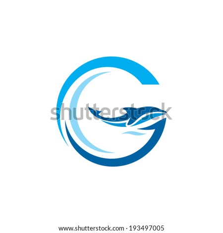 Sign the letter G. Dolphin on the Wave. Water Animal icon. Abstract alphabet, font emblem. Branding Identity Corporate vector logo design template Isolated on a white background - stock vector