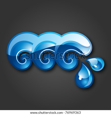 Sign three Waves-gray background. 10 EPS - stock vector