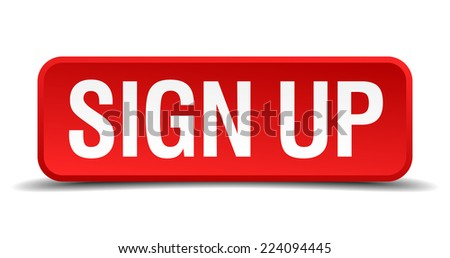 Sign up red 3d square button isolated on white - stock vector